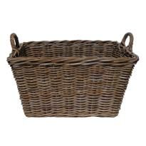Grey Rectangular Log Basket