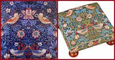 """: Footrest designs on William Morris. Design scheme """"Strawberry Thief"""" (""""strawberry thief"""", 1883) other embroidered furniture."""