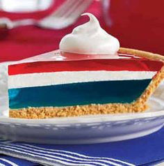 Easy Red White and Blue Jell-O  Patriotic Pie Recipe #Easy #Red_White_and_Blue #Jell_O #Easy #Patriotic #Pie #Recipe
