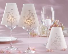 DIY wine glass lamps made with vellum shades