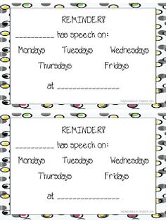Speech Reminder Cards Freebie  - Pinned by @PediaStaff – Please Visit  ht.ly/63sNt for all our pediatric therapy pins
