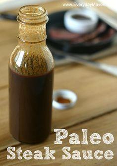 Steak Sauce -- balsamic vinegar, Worcestershire sauce, ketchup, mustard, raisins, celery seed, salt, pepper, cayenne, garlic, onion, orange
