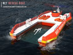 Net Rescue Boat brings people to safety much easier. #safety #rescue #boat #YankoDesign