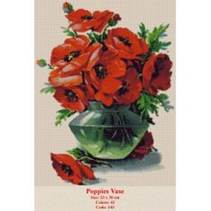 Poppies Vase Cross Stitch Kits, Crafty Craft, Poppies, Rooster, Tapestry, Artwork, Plants, Animals, Goblin