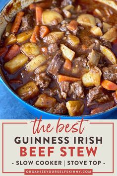 Irish Beef Stew With Guinness (Stove top & Slow Cooker) - Modern Irish Stew, Irish Beef Stew Recipe, Beef Stew Stove Top, Easy Beef Stew, Slowcooker Beef Stew, Slow Cooking, Slow Cooker Meal Prep, Guinness Beef Stew, Guiness Stout