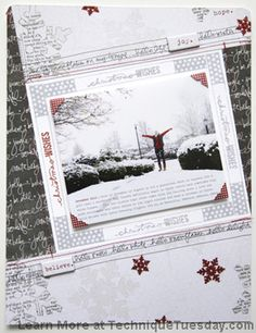 Layout using studio AE hello december stamp set, snowflakes, frame, and photo corners.