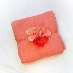 Newborn Cheesecloth Wrap in Light Coral with Headband for Baby Girl Newborn Portrait Prop Photography Prop