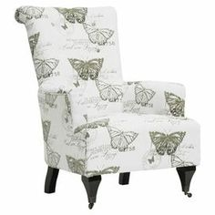 """Linen-upholstered arm chair with a stamped butterfly motif and castered front feet.   Product: ChairConstruction Material: Engineered wood, polyurethane foam and linenColor: Beige and whiteFeatures:Castered feetDimensions: 39.75"""" H x 29"""" W x 35.62"""" DNote: Minor assembly requiredCleaning and Care: Spot clean only"""