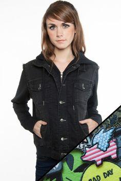 Black Outlaw Denim jacket & Patch set