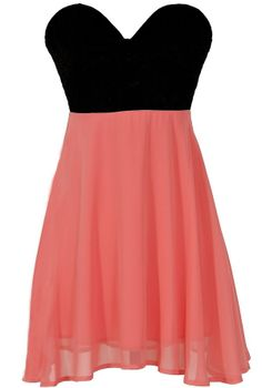 Strapless black and coral dress