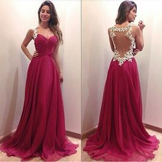 A-line Sweetheart Prom Dress, Red Chiffon Prom Dress, Lace Long Prom Dress, See Through Back Evening Prom Dress Prom Dresses 2016, Backless Prom Dresses, A Line Prom Dresses, Dress Prom, Prom Gowns, Party Dress, Gown Dress, Prom Party, Gowns 2017