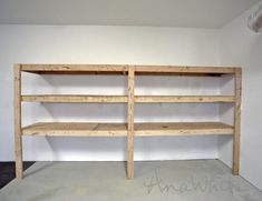 Ana white easy and fast diy garage or basement shelving for tote. Basement Shelving, Garage Shelf, Garage Workbench, Cheap Garage Cabinets, Garage Tools, Diy Storage Shelves, Tote Storage, Shelving Ideas, Storage Ideas