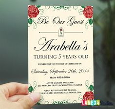 Birthday Invitation  Rose Beauty and the Beast by Lane34Party, $6.00