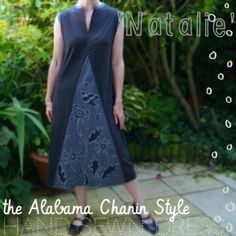 Alabama Chanin Style hand sewn dress. I like this idea of a simple dreass with an embelished gore in the front.