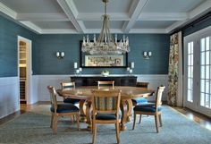 blue grasscloth, wainscoting, coffered ceiling, french doors ~ L <3 VE the colors!