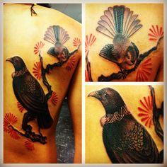 Back In 08 Tui Fantail Tattoo Pohutukawa Flickr Photo Sharing