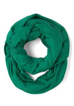 Start with the Basics Circle Scarf in Green - Solid, Cotton, Winter, Green, Tis the Season Sale