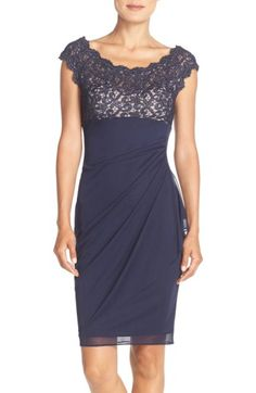 Free shipping and returns on Xscape Lace & Chiffon Sheath Dress (Regular & Petite) at Nordstrom.com. Scalloped lace flecked with metallic shimmer sculpts the fitted bodice of this chiffon evening dress that sweeps to one hip to flatter and accentuate your waist.