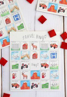 travel bingo free printable - road trip game