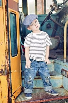 I love this back to school photo shoot on an old vintage school bus! ♥ Photo Session Ideas | Props | Prop | Child Photography | Clothing Inspiration| Fashion | Pose Idea | Poses | Little Boy by EmmyBrynn