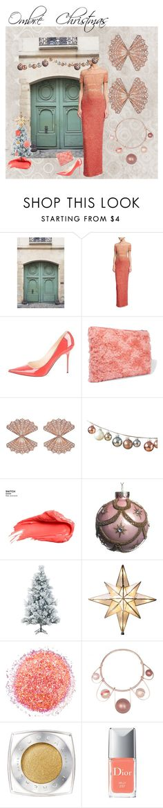 """Ombré Holiday"" by sandjpopescu ❤ liked on Polyvore featuring Home Decorators Collection, Pamella Roland, Jimmy Choo, Miu Miu, Urban Decay, Fraser Hill Farms, GE, L'Oréal Paris, Christian Dior and tarte"
