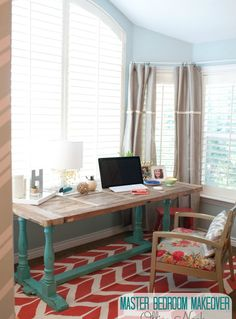 Love the teal/turquoise painted legs with rustic wood top, bold floral upholstered chair and coral chevron area rug.