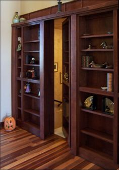 Put a hidden door bookcase on pantry door or on kids bedroom doors that lead to jack and jill bath
