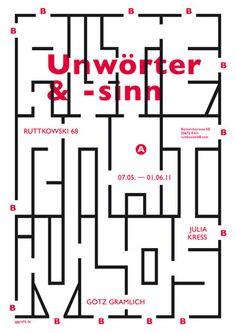 Typographic poster design by Götz Gramlich Typography Prints, Typography Poster, Graphic Design Typography, Graphic Posters, Pac Man, Artwork Prints, Poster Prints, Geometric Graphic Design, Graphic Eyes