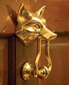A classic of American design and representative of the Hunt Country from Pennsylvania to South Carolina, this handsome solid brass fox head doorknocker has been a favorite among our customers for 15 y