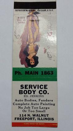 SERVICE BODY CO. ED JENKINS FREEPORT ILLINOIS Ph. 1863 Matchbook Matchcover 1