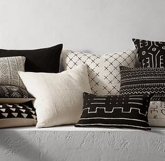 Handwoven African Mud Cloth Pillow Cover. or we go with the black and white mud cloth