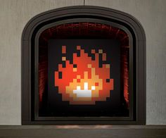 It's time to cover up that non-working fireplace and warm hearts instead with an fire decoration. The pixelated works of art are made to resemble the fires seen in the Legend of Zelda games, and are available in various sizes and styles. 8 Bit, Fireplace Art, Fireplaces, Zelda Gifts, Geek Games, Retro Gamer, Legend Of Zelda, Pixel Art, Art Pieces