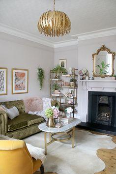 home living room boho glam living room makeover in pink green and gold Pink Living Room, Living Room Green, Dining Room Renovation, Cozy Living Rooms, Home Living Room, Glam Living Room, Living Room Remodel, Room Makeover, Gold Living Room