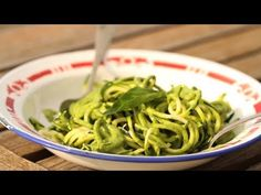Raw Zucchini Spaghetti with Basil Pesto - YouTube