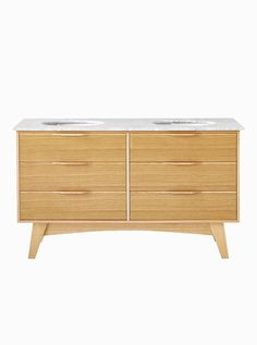 Photos Of The McQueen Natural free standing mid century style timber veneer bathroom vanity Made from pure timber veneer Features a solid Carrera Marble stone