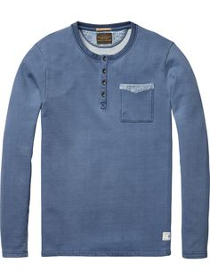 Chambray Details T-Shirt |Jersey l/s tee's & tops|Men Clothing at Scotch…