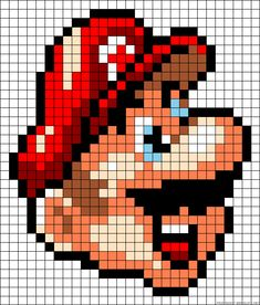 Super Mario face perler bead pattern