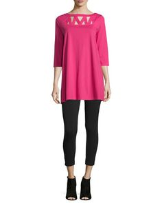 3/4-Sleeve+Yoke-Cutout+Tunic+&+Stretch+Jersey+Ankle+Leggings,+Women\'s+by+Joan+Vass+at+Neiman+Marcus.