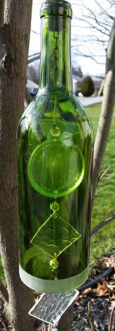 Recycled Wine Bottle Wind Chime and Sun Catcher by StudioDawnMarie