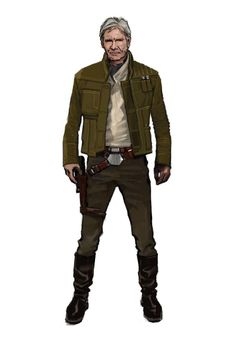 "Costume concept art of Han Solo in flight jacket from ""Star Wars Episode VII The Force Awakens"" (2015).  ""We designed quite a few costumes, but again, Han Solo ended up wearing the short brown jacket,"" says artist Glyn Dillon. ""He had a duster coat, and for a while, J.J. and [costume designer] Michael Kaplan wanted the original vest."""