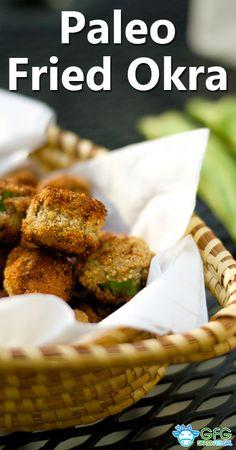 Paleo Fried Okra (gluten-free, grain-free, dairy-free, vegan) | http://www.grassfedgirl.com/paleo-fried-okra-gluten-free/