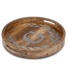 "GG Collection Heritage Wood & Metal Inlay Monogram Round Tray 20"" 💕SHOP💕 www.crownjewel.design"