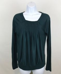 The Limited Women's Sz M Knit Top Green Long Sleeve Square Neck Pintuck Shirt #TheLimited #KnitTop