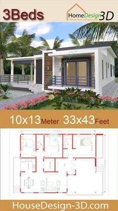 House Plan Discover House design Meters Feet with 3 Bedrooms Terrace roof House design Meters Feet with 3 Bedrooms Terrace roof The House has: -Car Parking and garden -Living room -Dining room -Kitchen Bedrooms 2 bathroom -washing room House Layout Plans, Family House Plans, Bedroom House Plans, Dream House Plans, Small House Plans, House Layouts, 3 Bedroom Floor Plan, Small House Architecture, Architectural House Plans