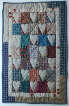 Hearts in Plaid Patchwork Quilt Wallhanging by ForsythiaSkies, $48.00