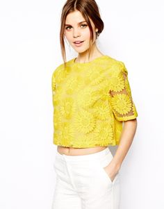 Yellow Short Sleeve Flower Embroidery Crop Top 18.99
