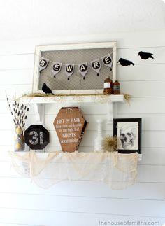 Halloween Shelf Decor - black and white - thehouseofsmiths.com #thehouseofsmiths #halloweendecor #holidaydecor #DIYdecor #decor