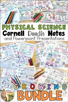 All current and future Physical Science Cornell Doodle Notes! These notes are packed with pictures, analogies, and examples to help students learn and retain science concepts! Each resource is scaffolded and comes with a Powerpoint or Google Slides presentation!
