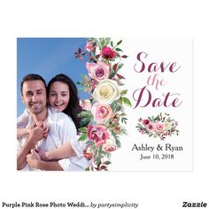 Purple Pink Rose Photo Wedding Save the Date Magnet - summer wedding diy marriage customize personalize couple idea individuel Save The Date Magnets, Save The Date Postcards, Autumn Wedding, Summer Wedding, Floral Wedding, Wedding Flowers, Boho Wedding, Wedding Dresses, Rose Photos