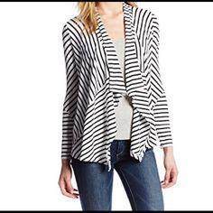 SALE NWT Calvin Klein Stripe Cardigan Sweater NWT Calvin Klein Stripe Cardigan Sweater. Long sleeves. 95% Rayon 5% Spandex. Super soft! Originally listed at $60. Sale ends 12/14/15. Calvin Klein Sweaters Cardigans